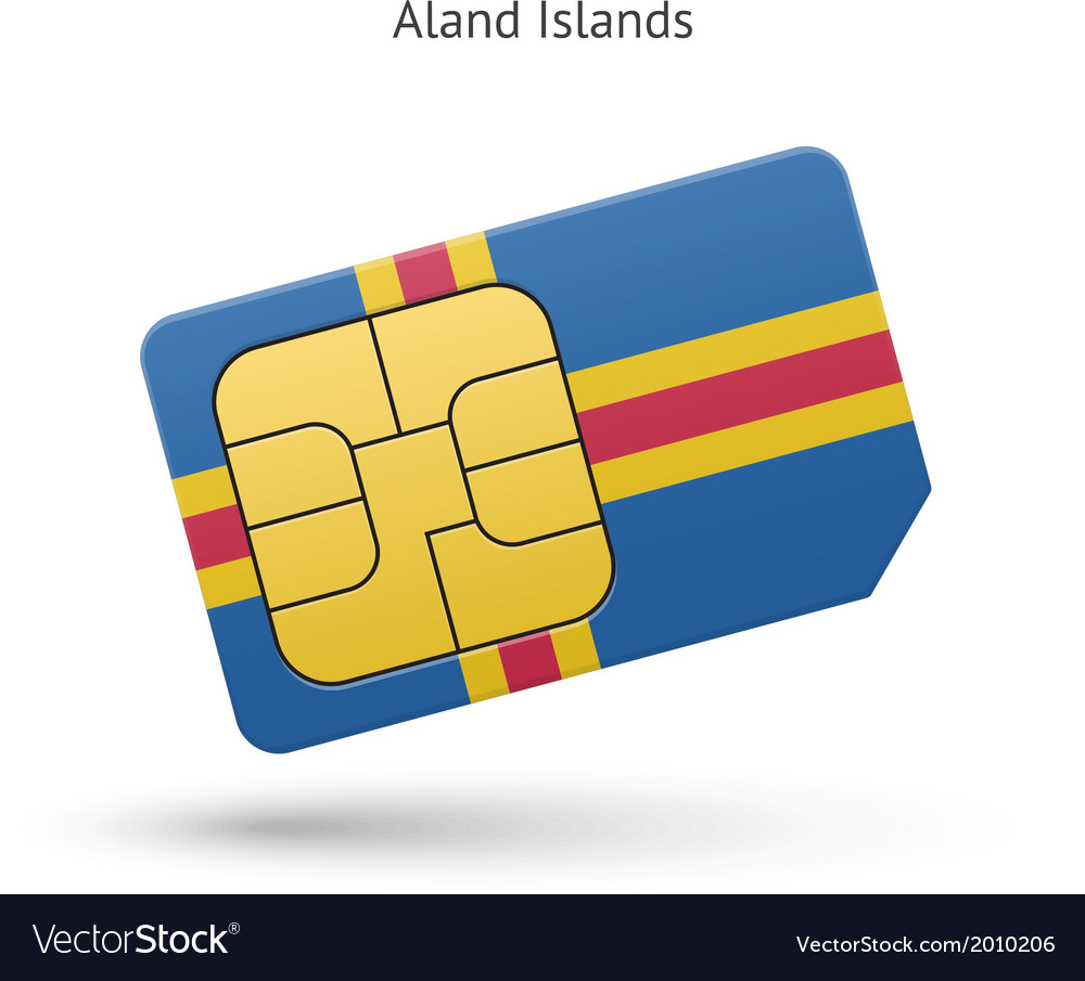Aland islands mobile phone sim card with flag vector | Price: 1 Credit (USD $1)