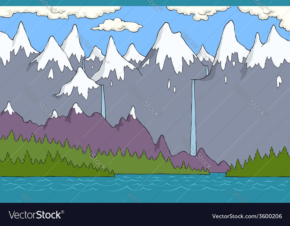 Alpine landscape vector | Price: 1 Credit (USD $1)