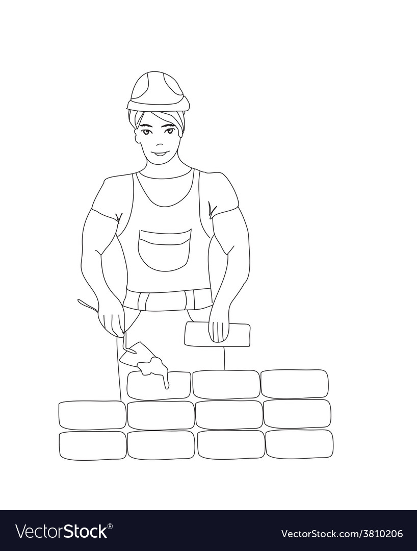 Builder working working mason makes laying bricks vector | Price: 1 Credit (USD $1)