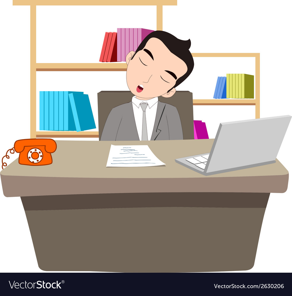 Businessman sleeping at work table over laptop vector | Price: 1 Credit (USD $1)