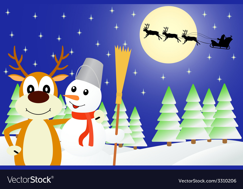 Deer and the snowman vector   Price: 1 Credit (USD $1)