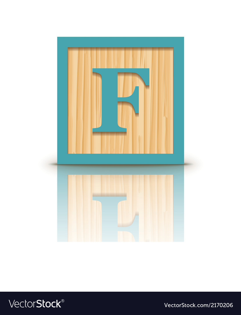 Letter f wooden alphabet block vector | Price: 1 Credit (USD $1)