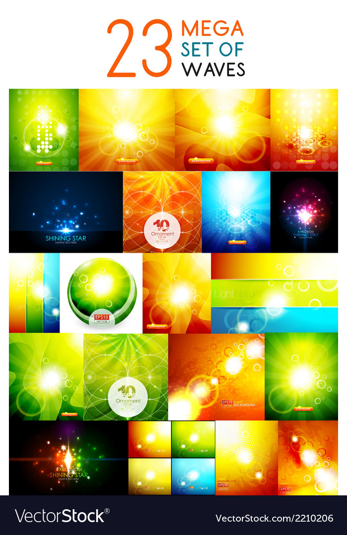 Mega collection of warm shiny backgrounds vector | Price: 1 Credit (USD $1)