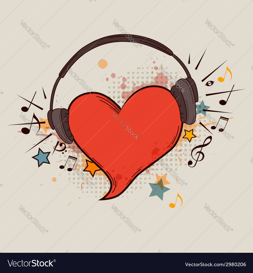 Musical background with red heart vector | Price: 1 Credit (USD $1)