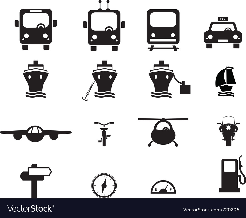 Set of transportation icons vector | Price: 1 Credit (USD $1)