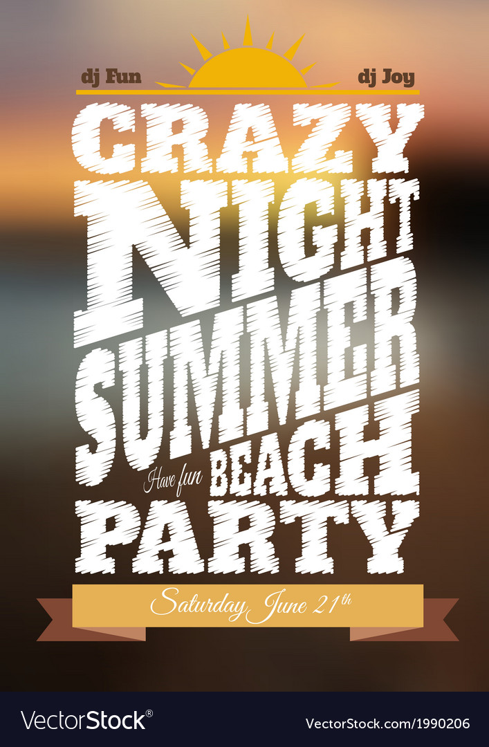 Summer night party poster vector | Price: 1 Credit (USD $1)