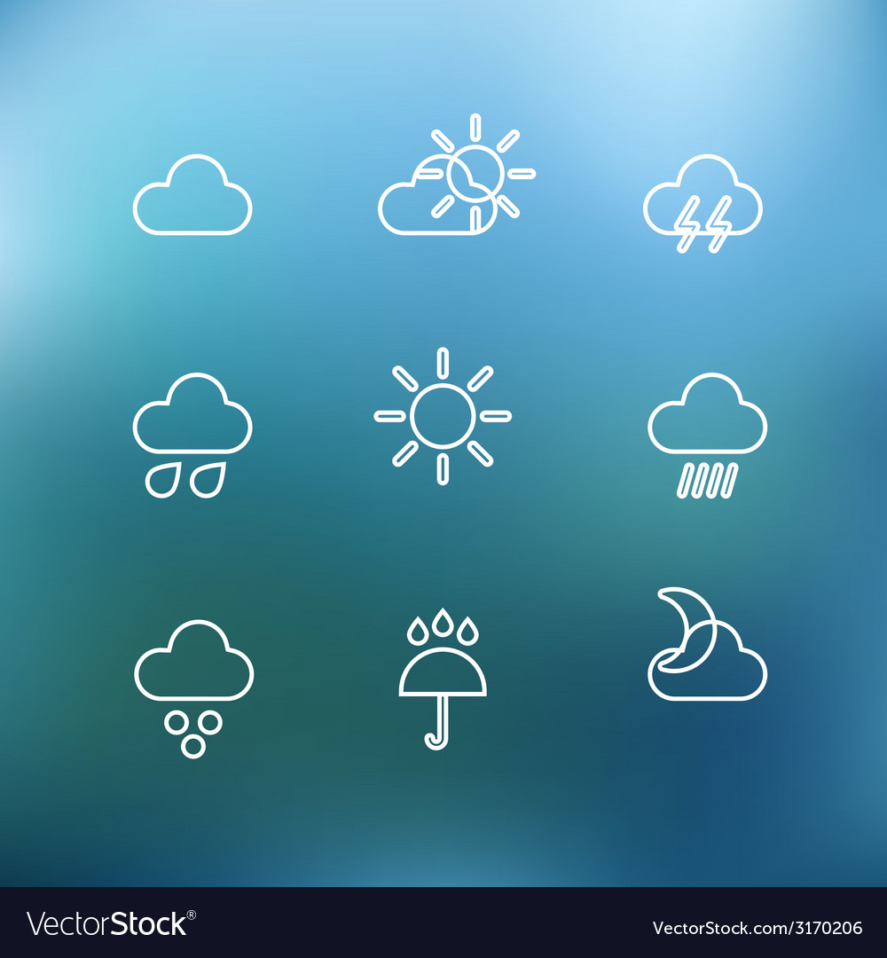 White forecast icons clip-art on color background vector | Price: 1 Credit (USD $1)