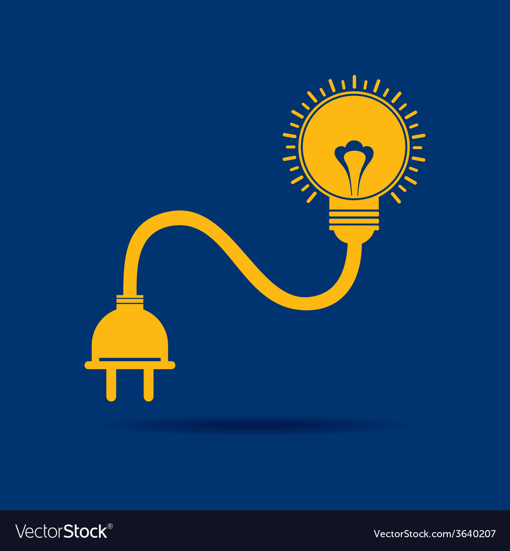 Abstract light-bulb with plug icon vector | Price: 1 Credit (USD $1)