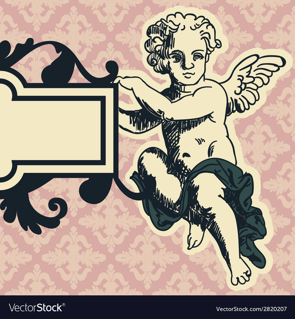 Angel in style of a baroque vector | Price: 1 Credit (USD $1)