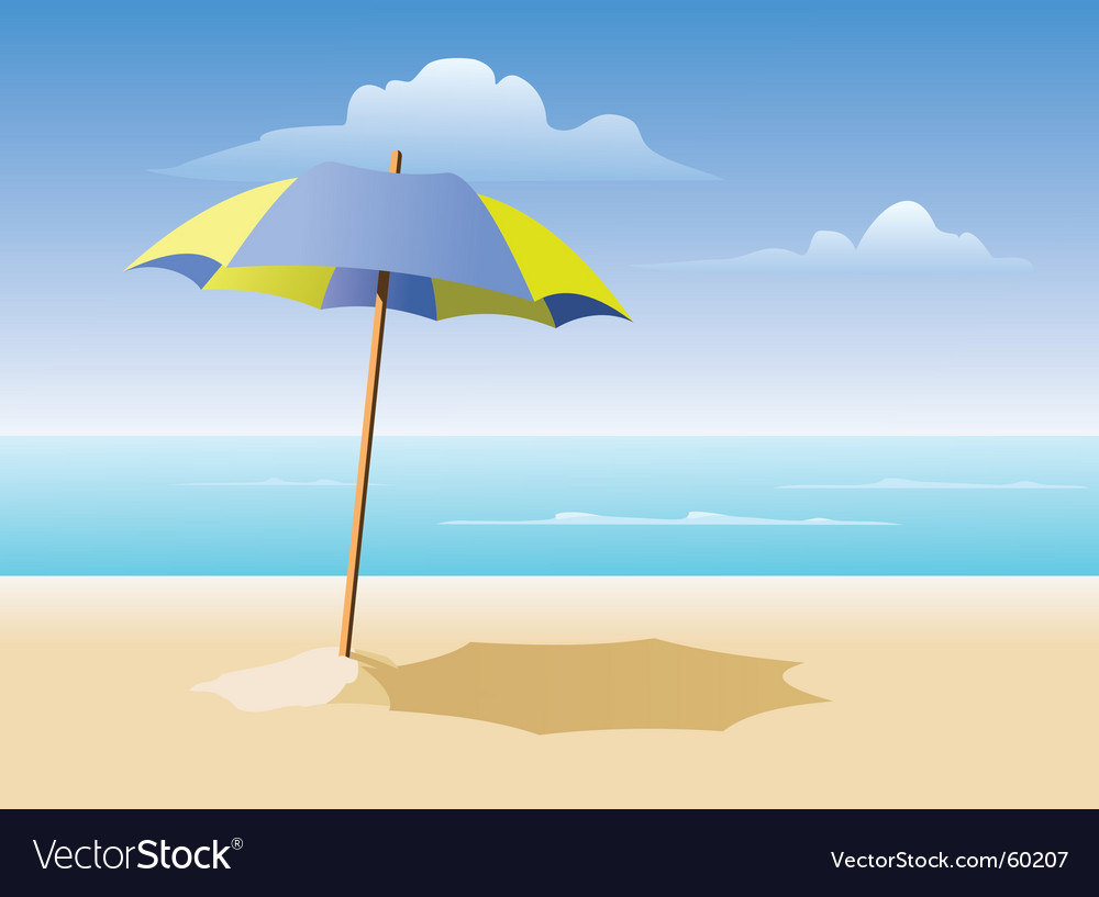 Beach umbrella on the beach vector