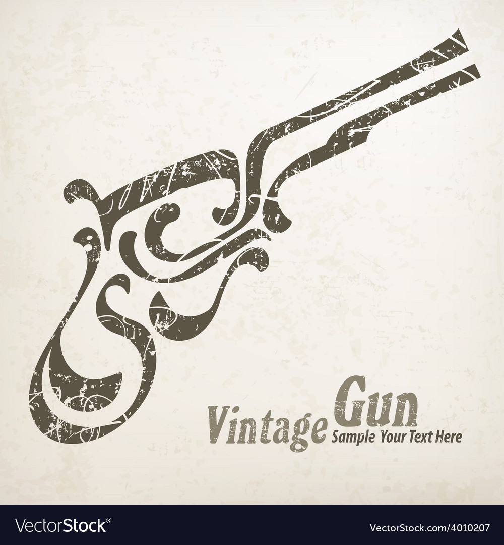 Gun on white vector | Price: 1 Credit (USD $1)