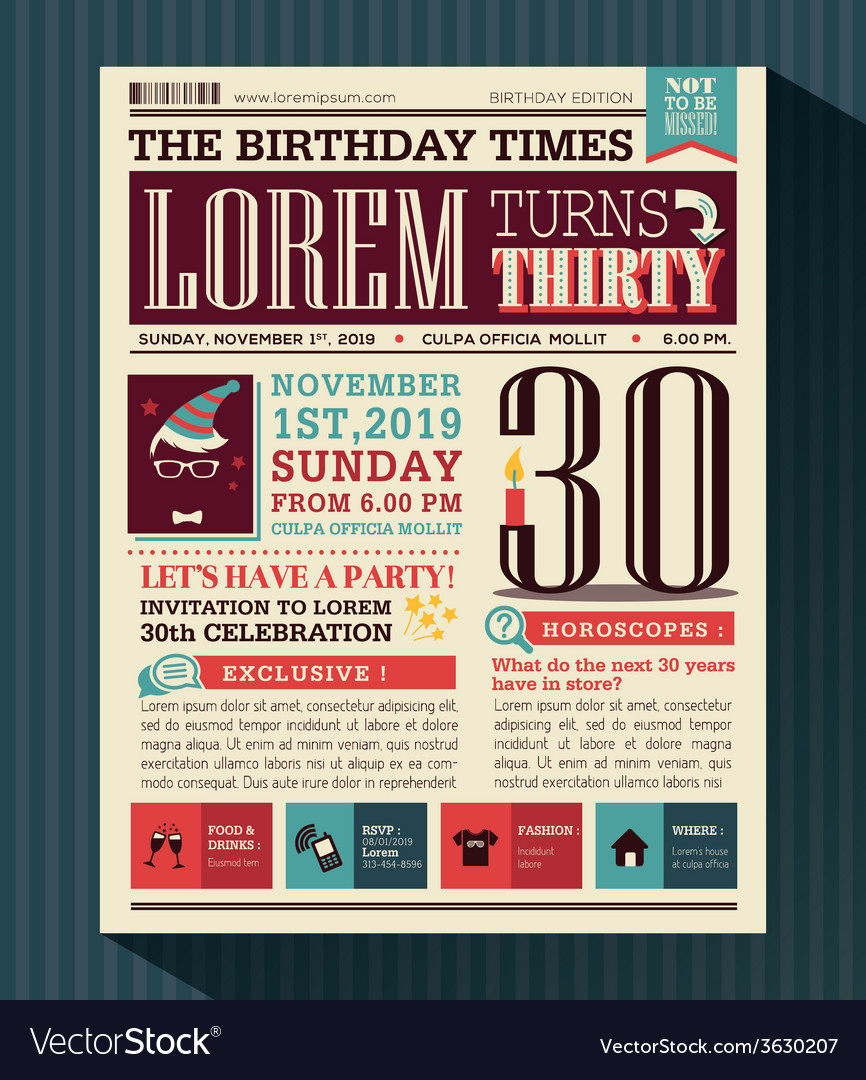 Happy birthday card design layout newspaper style vector | Price: 1 Credit (USD $1)