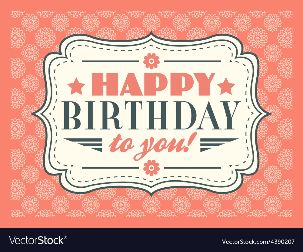 Happy birthday card typography letters font type vector | Price: 1 Credit (USD $1)