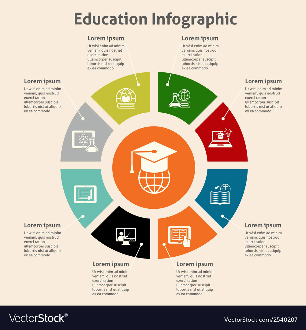 Online education infographic vector | Price: 1 Credit (USD $1)