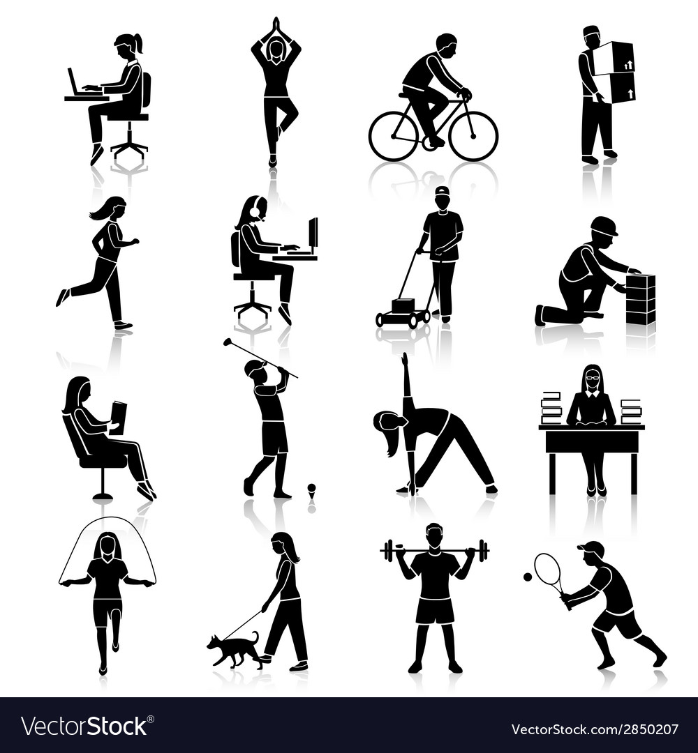 Physical activity icons black vector | Price: 1 Credit (USD $1)
