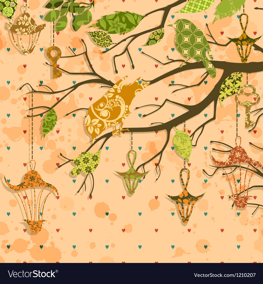 Scrapbooking grungy card with birds and vector | Price: 1 Credit (USD $1)