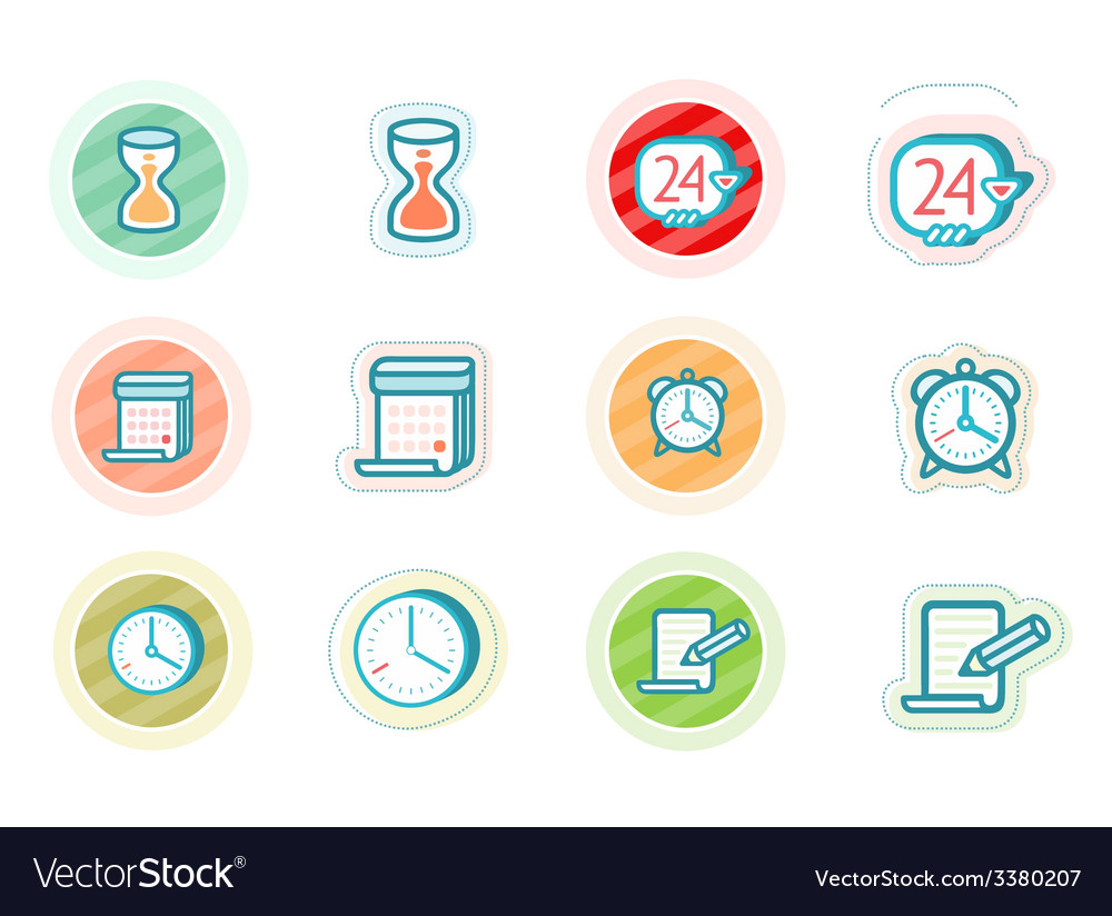 Time and date icons vector | Price: 1 Credit (USD $1)