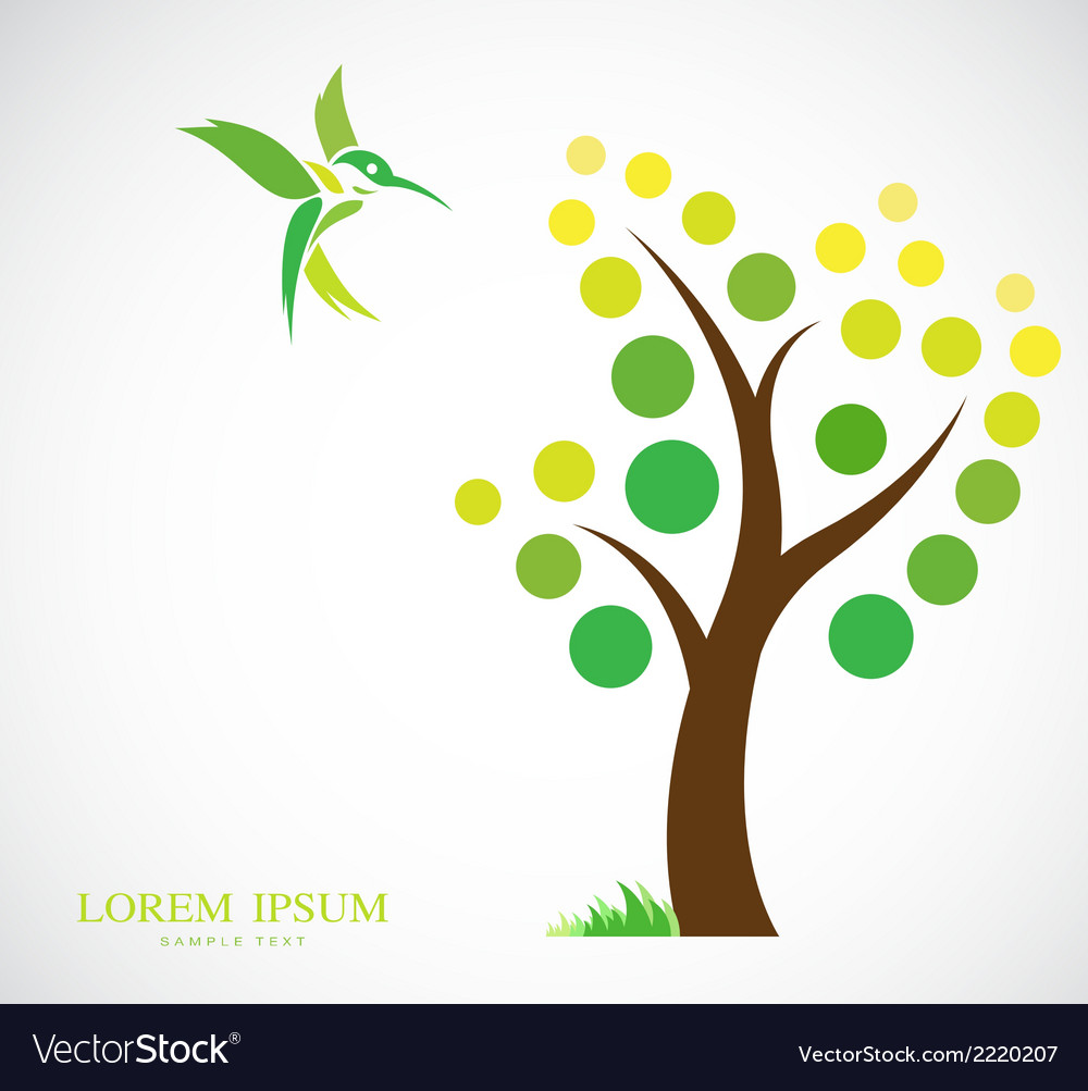 Trees and hummingbirds vector | Price: 1 Credit (USD $1)