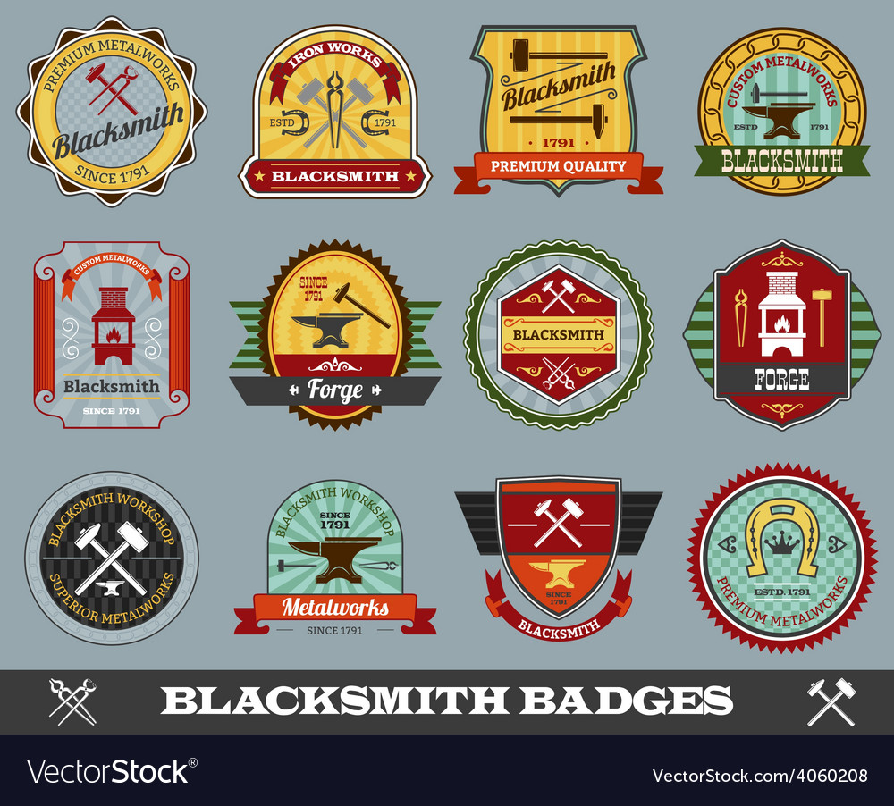 Blacksmith badges set vector | Price: 1 Credit (USD $1)
