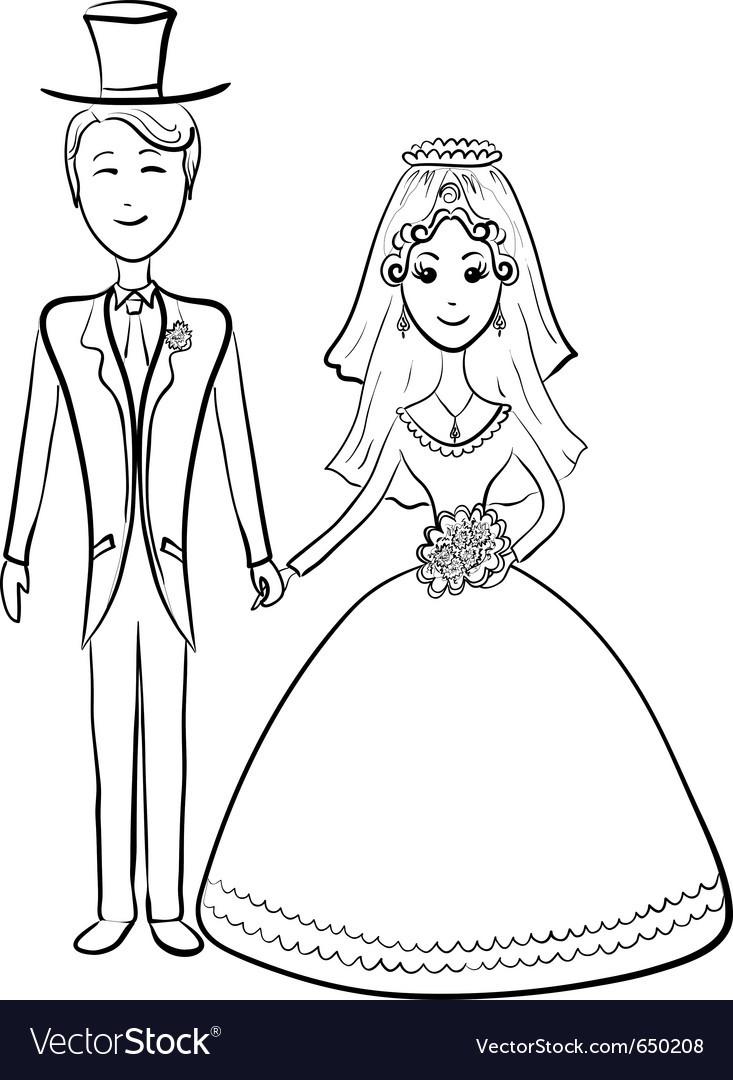 Bride and groom contours vector | Price: 1 Credit (USD $1)