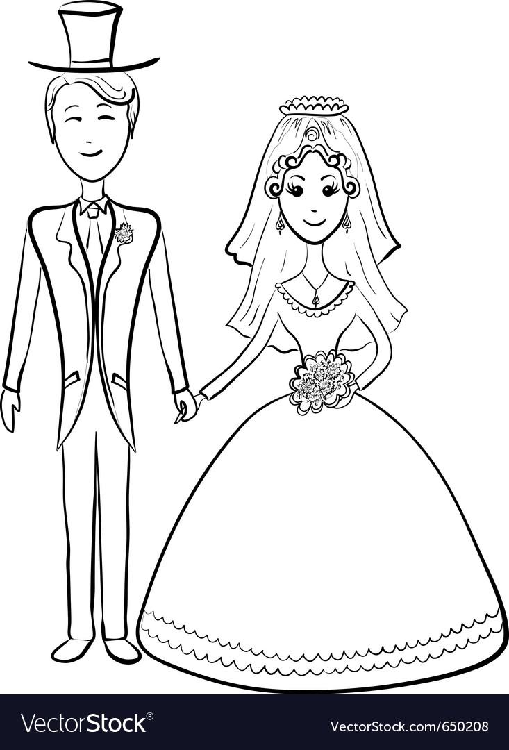 Bride and groom contours vector | Price: 1 Credit (USD $1)