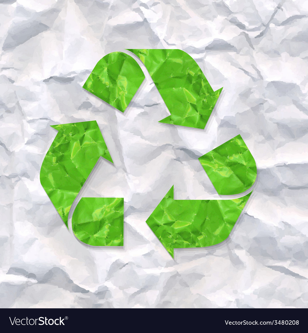 Crushed paper with recycle sign vector | Price: 1 Credit (USD $1)