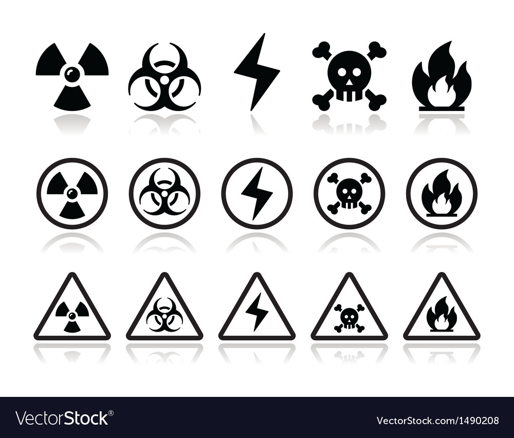 Danger attention icons set vector | Price: 1 Credit (USD $1)