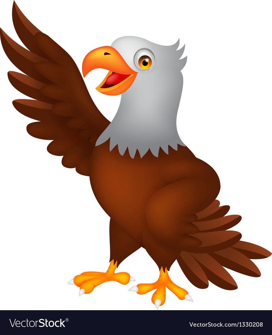 Eagle cartoon waving vector | Price: 1 Credit (USD $1)
