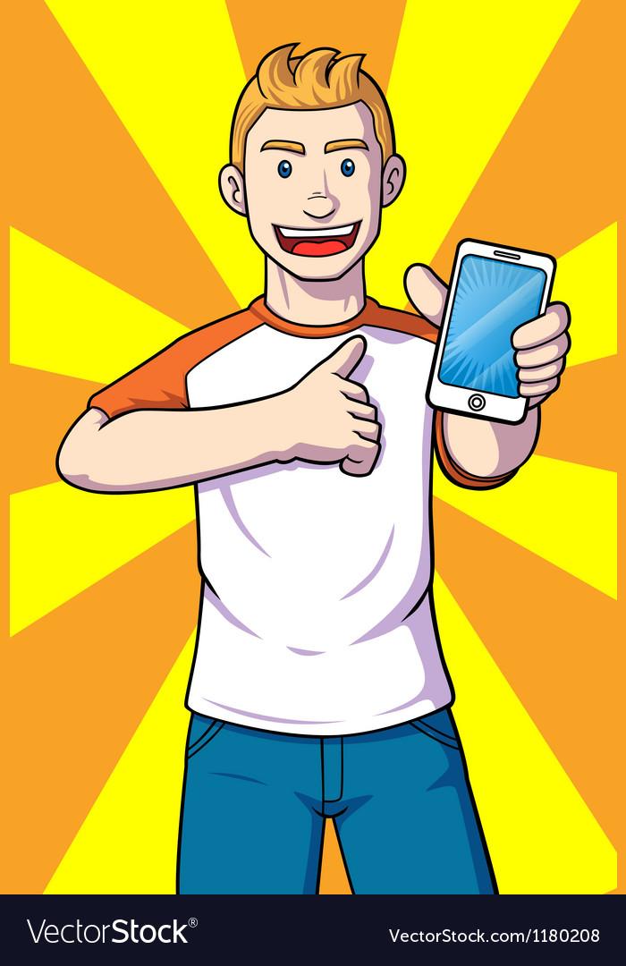 Man with a handphone vector