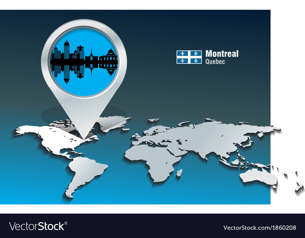 Map pin with montreal skyline vector | Price: 1 Credit (USD $1)