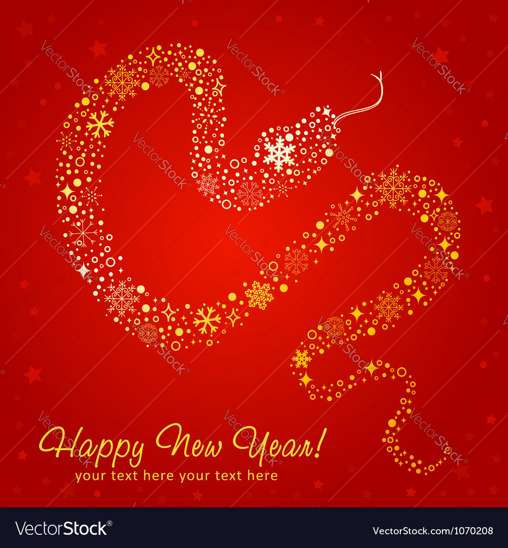 New year card of snake made of snowflakes vector | Price: 1 Credit (USD $1)