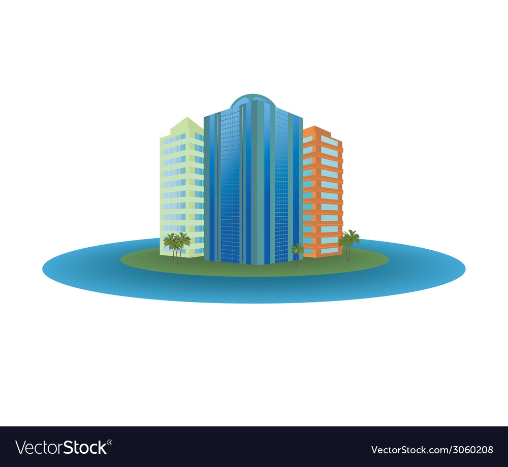 The small city on the island vector | Price: 1 Credit (USD $1)