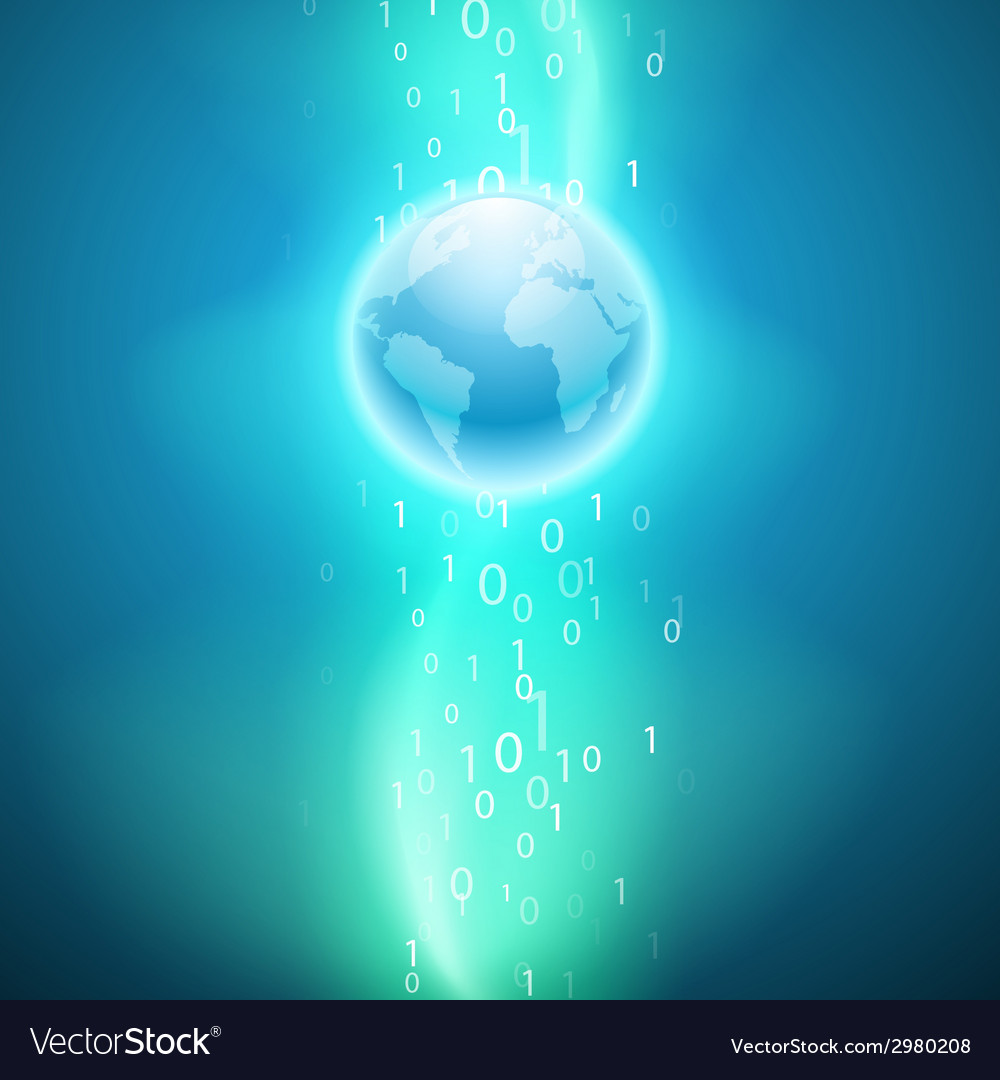 Stream of binary code to the globe vector | Price: 1 Credit (USD $1)