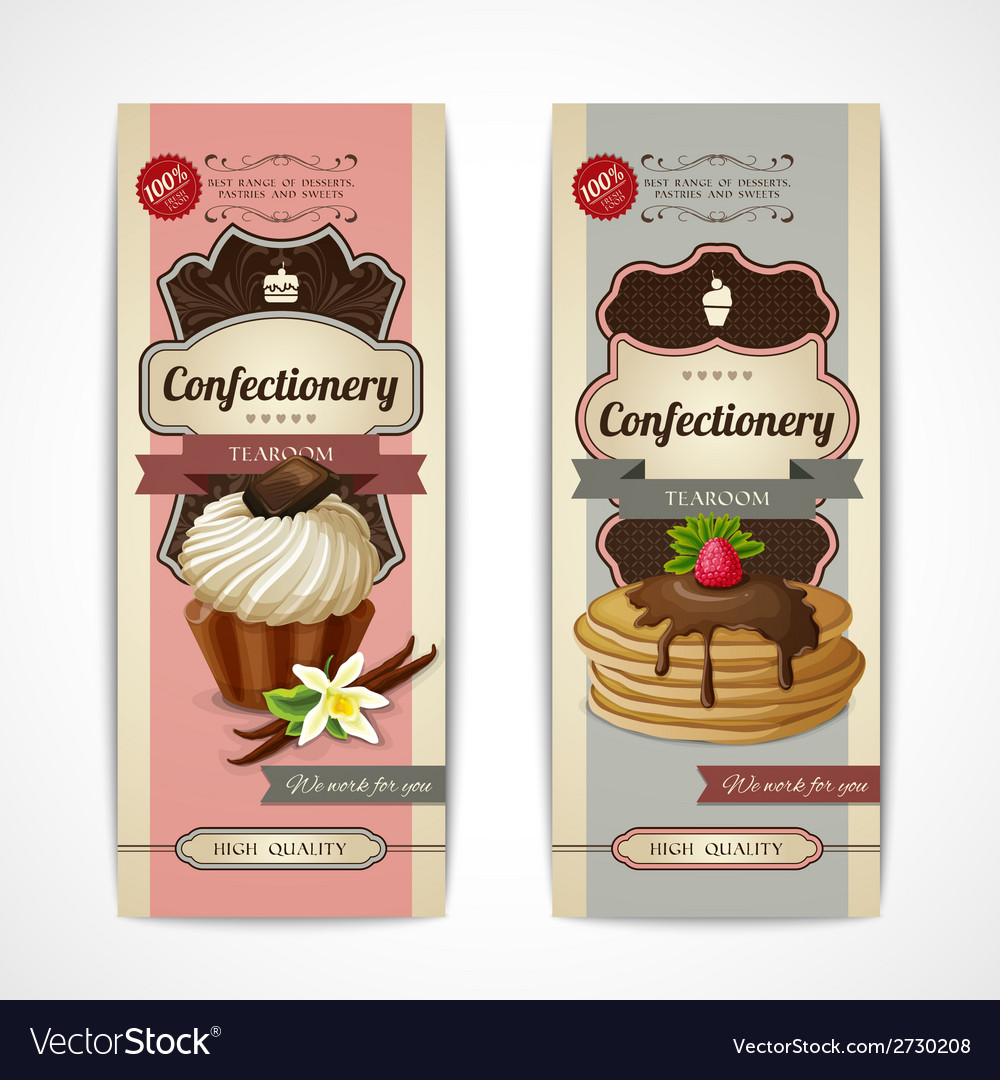 Sweets vintage banners vertical vector | Price: 1 Credit (USD $1)