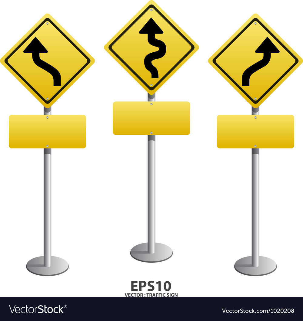 Traffic sign zigzag vector | Price: 1 Credit (USD $1)