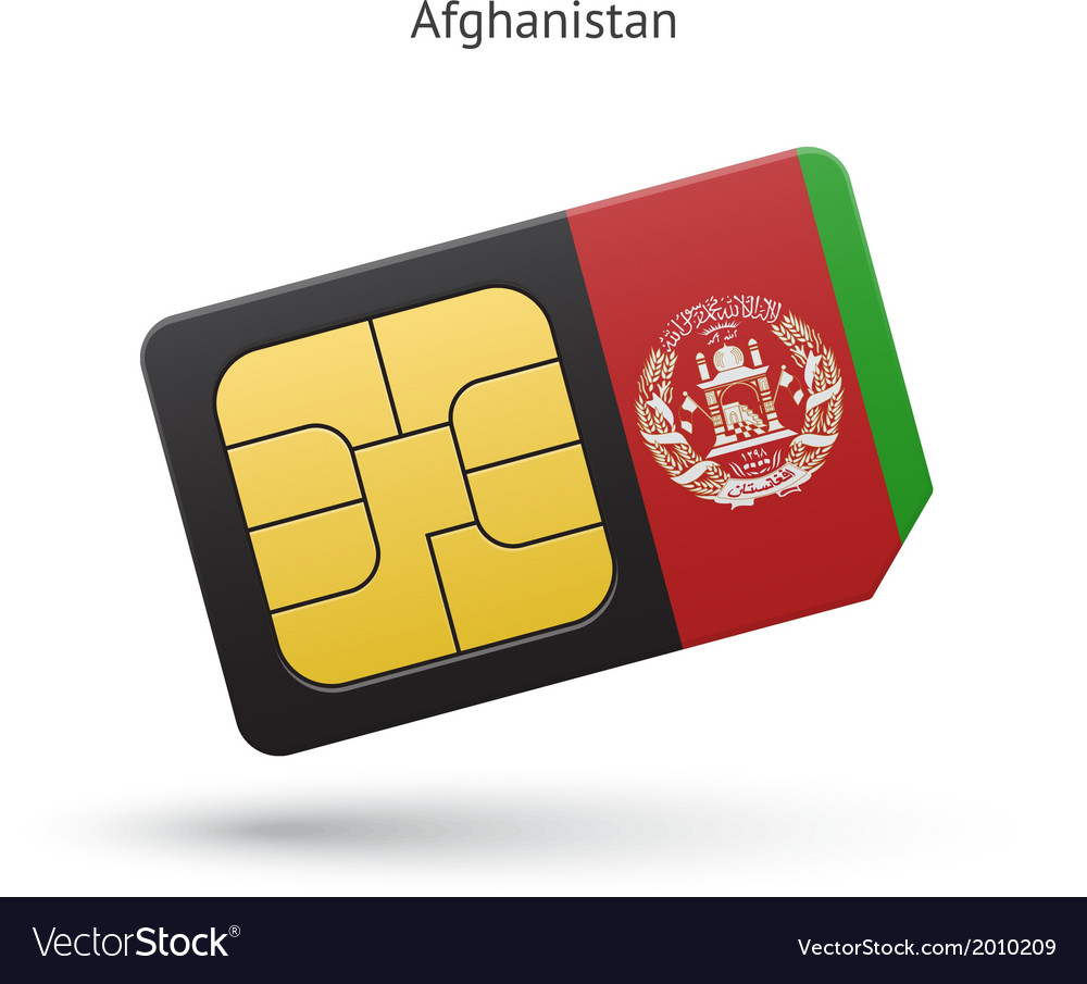 Afghanistan mobile phone sim card with flag vector | Price: 1 Credit (USD $1)