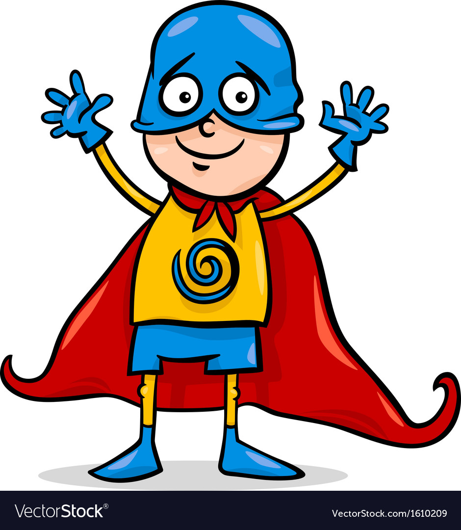 Boy in hero costume cartoon vector | Price: 1 Credit (USD $1)