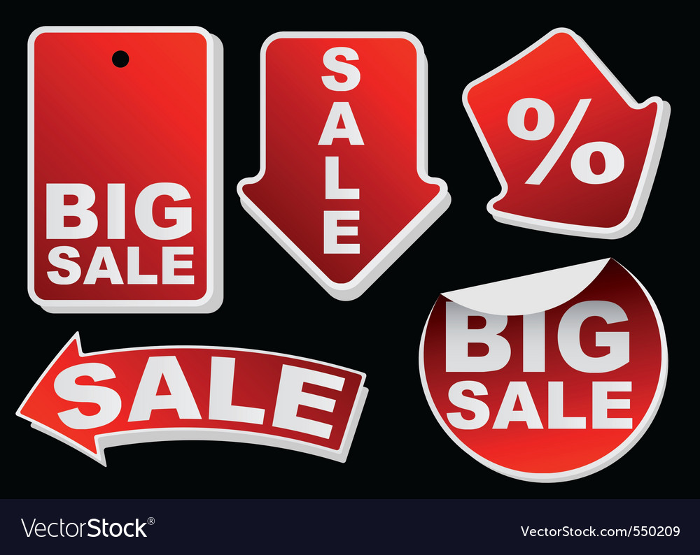 Collection of various red isolated sale tags vector   Price: 1 Credit (USD $1)