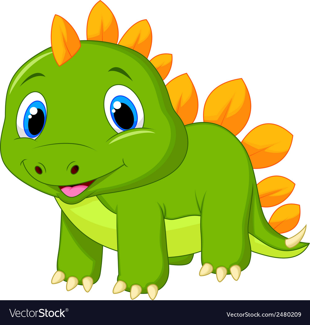 Cute baby stegosaurus cartoon vector | Price: 1 Credit (USD $1)