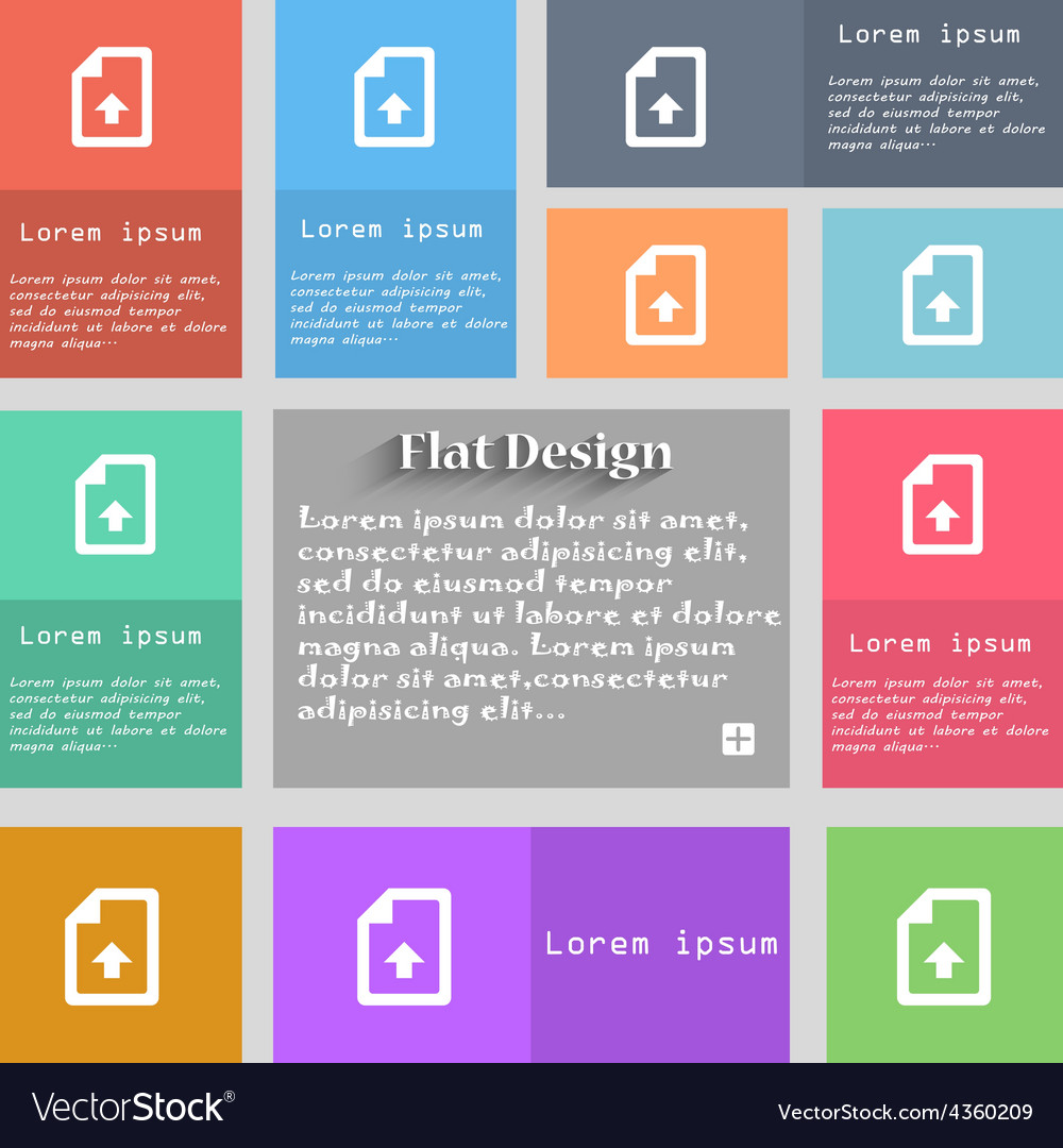 Export upload file icon sign set of multicolored vector | Price: 1 Credit (USD $1)