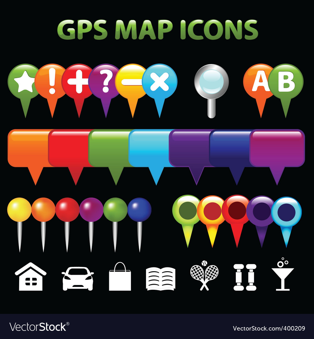 Gps map icons vector | Price: 1 Credit (USD $1)