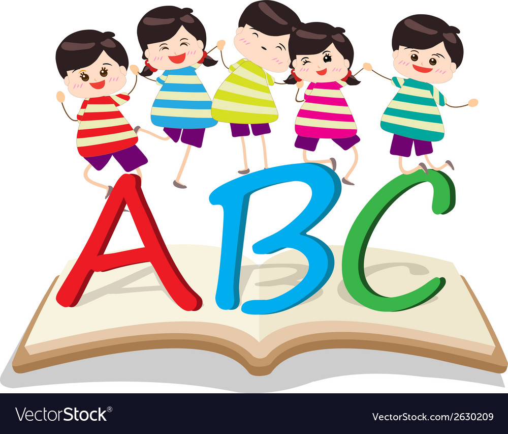 Happy kids playing with letter and on book vector | Price: 1 Credit (USD $1)