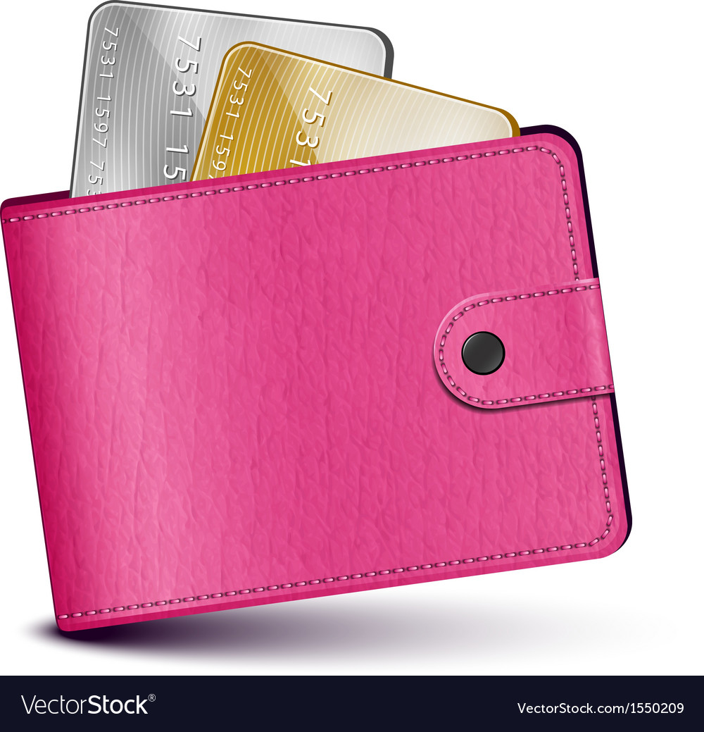 Pink leather wallet vector