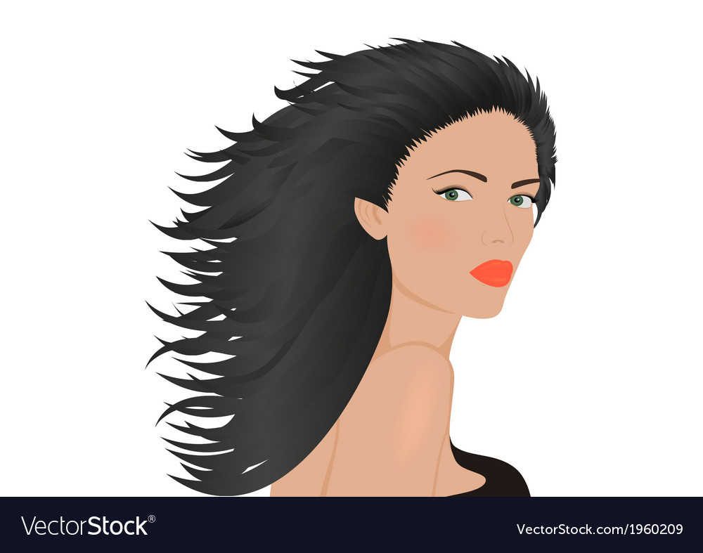Portrait of brunette woman vector | Price: 1 Credit (USD $1)