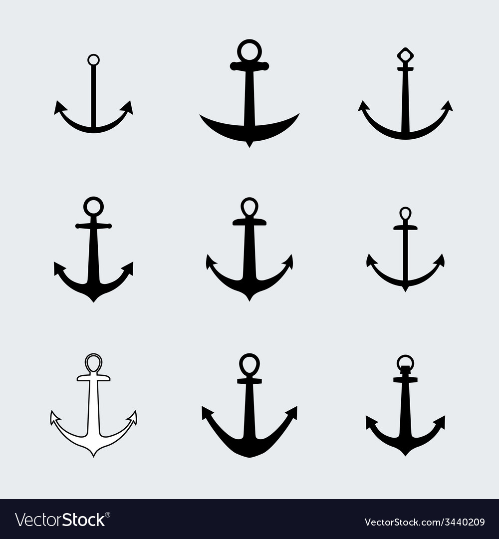 Set anchors icons vector | Price: 1 Credit (USD $1)
