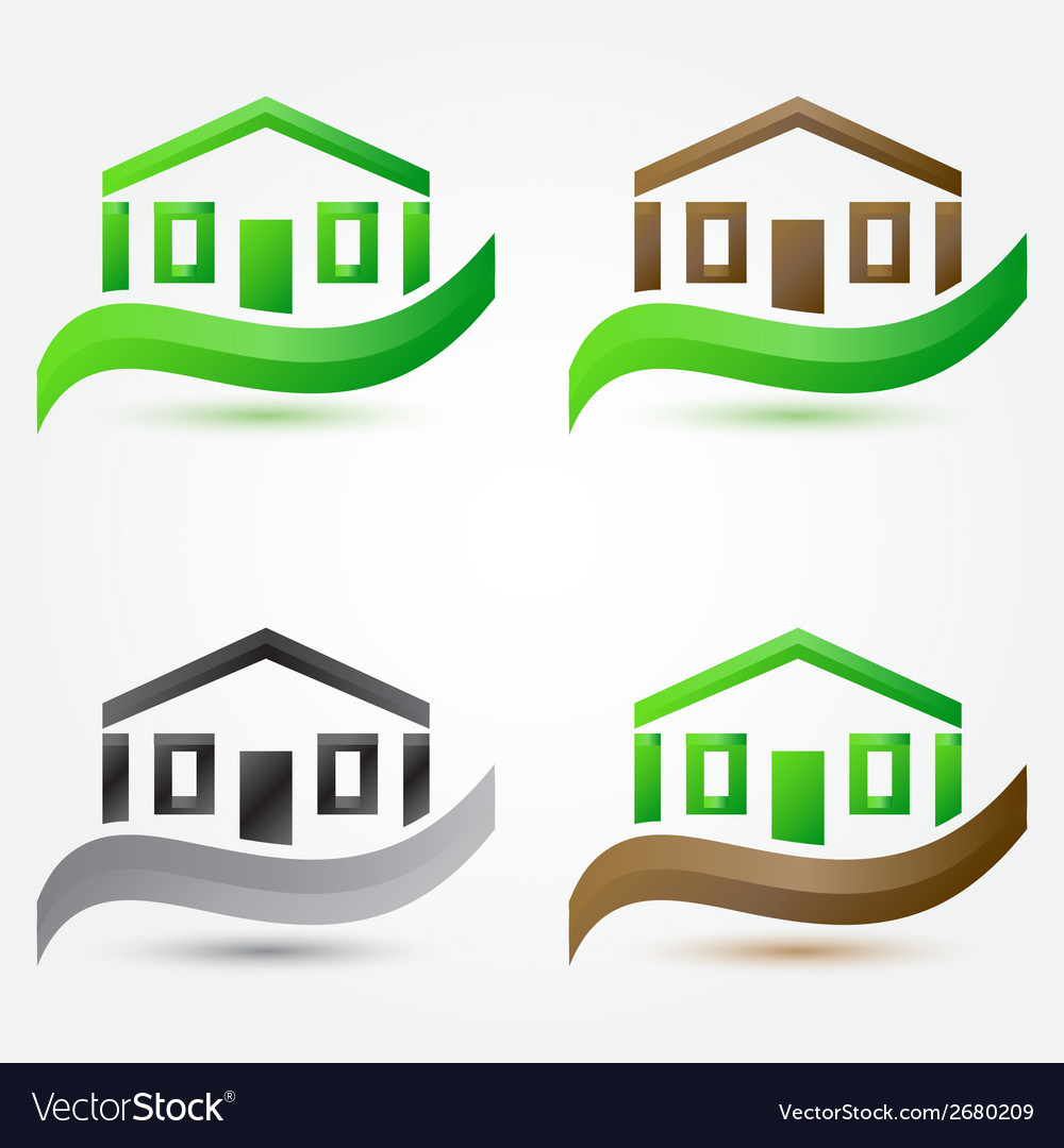 Simple house buildings icons - abstract real vector | Price: 1 Credit (USD $1)