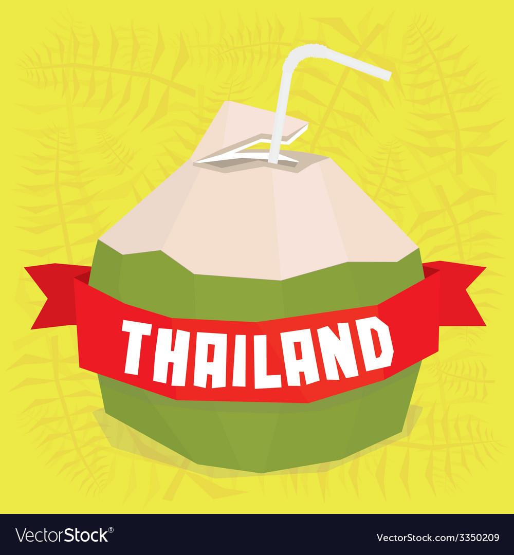 Thailand coconut cocktail postcard vector | Price: 1 Credit (USD $1)