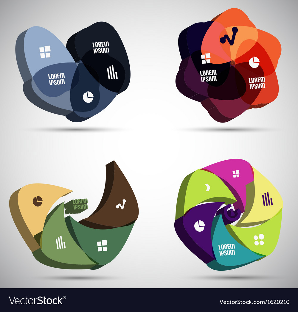 3d infographic shapes modern templates vector | Price: 1 Credit (USD $1)