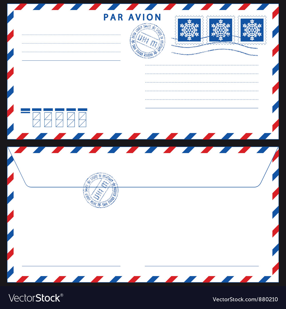 Airmail envelope on black vector | Price: 1 Credit (USD $1)
