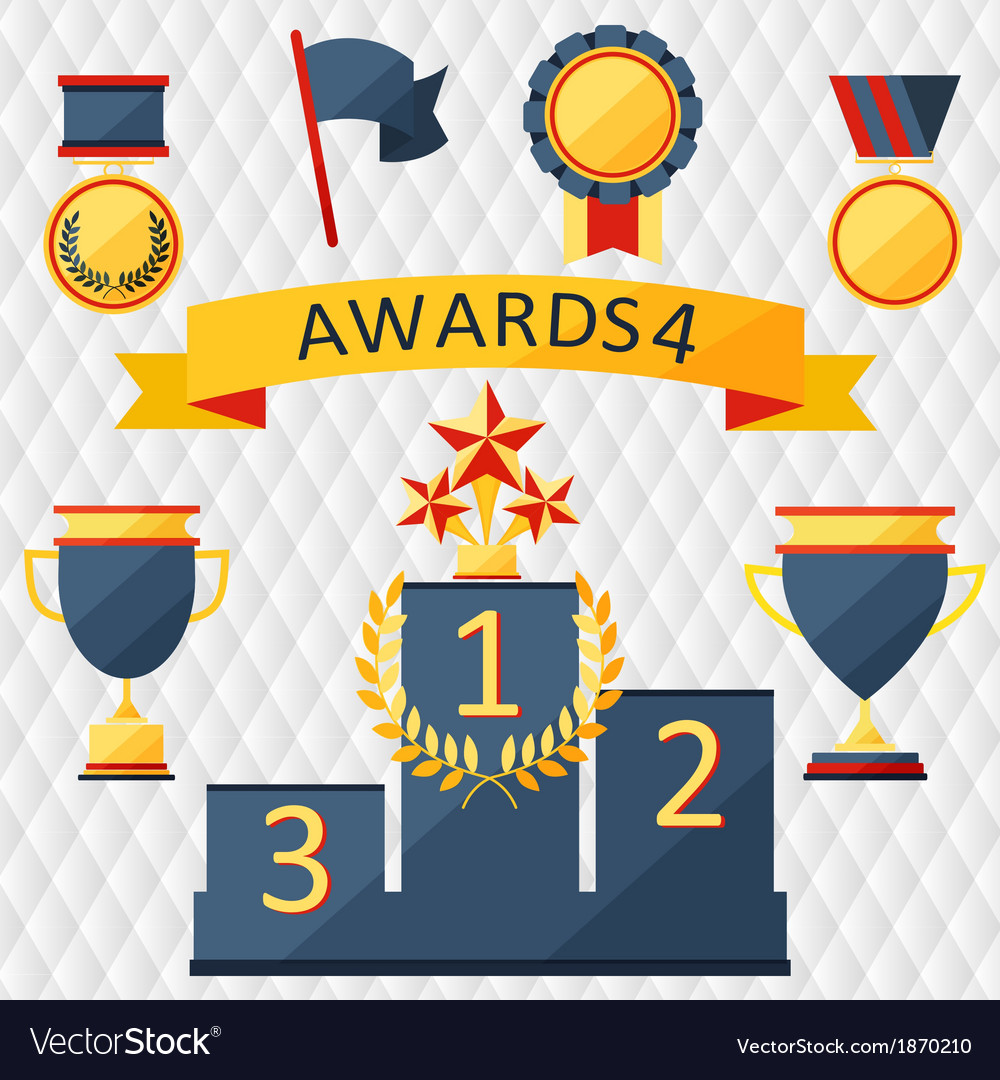 Awards and trophies set of icons vector | Price: 1 Credit (USD $1)